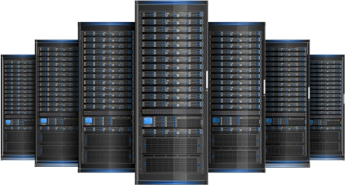 data center servers blue